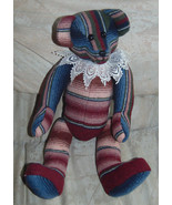 "Bear Made From Skirt by Seller 15"" Pellets in Hands&Feet-Wine-Peach-Blue... - $1.99"