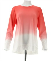 Denim & Co Active Dip Dye French Terry Pullover Poppy Red M NEW A304427 - $23.74