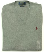 Ralph Lauren Jumper V Neck Grey Pima Thin Cotton Size XS Extra Small RRP... - $70.34