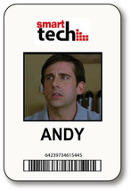 ANDY SMART TECH 40 YEAR OLD VIRGIN MOVIE NAME BADGE HALLOWEEN PROP MAGNE... - $15.83