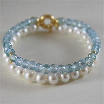 18K YELLOW GOLD BRACELET WITH 2 STRANDS PEARLS AND AQUAMARINE 7 IN MADE IN ITALY image 1