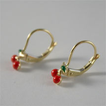 SOLID 18K YELLOW GOLD PENDANT EARRINGS WITH CHERRY, LEVERBACK, MADE IN ITALY image 4