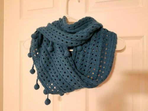 Mudpie Knit Teal Blue Pom Pom Infinity Cowl SCARF Wrap Crochet Boho Retro Groovy image 4