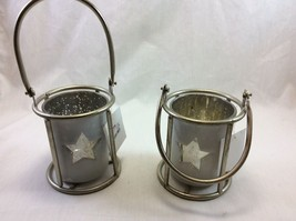 Candle Holder Set of 2 , Sturdy Wire and Mercury Glass . - $16.95