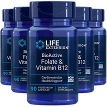 Life Extension BioActive Folate 400mcg & Vitamin B12 300mcg 5X90 Caps - $43.51