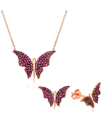 Silver Pink Butterfly Set - BJJB - €43,57 EUR