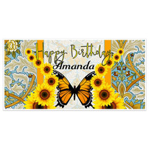 Sunflower Butterfly Birthday Banner Party Decoration Backdrop - $22.28+