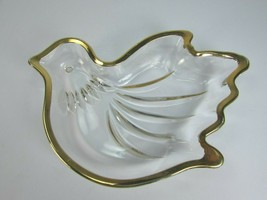 Mikasa Dove Sweet Candy Dish Glass Gold Rim Edge Bird 30674 Vintage - $29.69