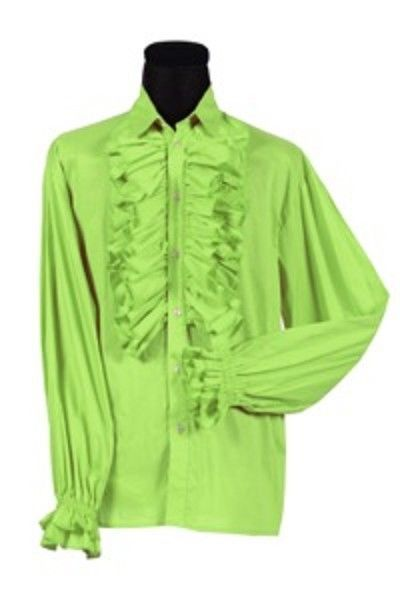 70's  Prom Shirt - Frilled Front and Cuffs - Lime  -  Deluxe Cotton