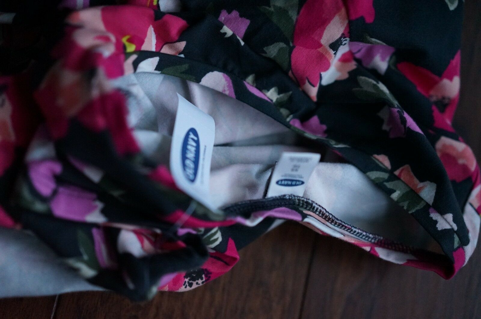 NWT XS Old Navy women's black w/ pink multi-color floral design DRESS