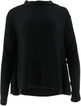 AnyBody Loungewear Brushed Hacci Funnel Neck Top Black XL NEW A297306 - $19.78
