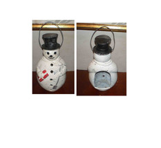 VINTAGE CAST SNOWMAN CANDLE HOLDER WITH TOP HAT XMAS PACKAGE-FROSTY - $33.00