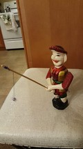 Vintage Color Puppet Wooden Carved Man & Fishing Rod , Worth $40+ , Tall... - $9.99