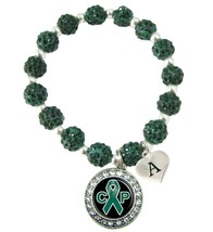 Custom Cerebral Palsy Awareness Green Bling Bracelet Jewelry Choose Initial - $14.84+