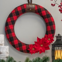 "Nwt  $39 felt buffalo plaid 22"" dia. christmas wreath - $27.71"