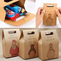 10 Pcs Kraft Paper Xmas Party Cookies Candy Present Gift Bag Luxury Chri... - €3,23 EUR