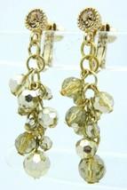 VTG Gold Tone Topaz Rhinestone Crystal Bead Dangle Clip Earrings - $19.80