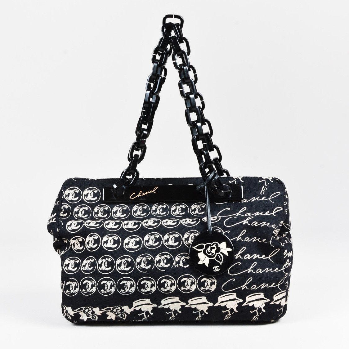 dfa57cc59ccacc Chanel Black Cream Canvas 'CC' Printed Chain and 50 similar items