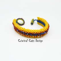 Bracelet Beaded Bangle Cuff 60ies Style Yellow Blue Red OOAK - $59.00