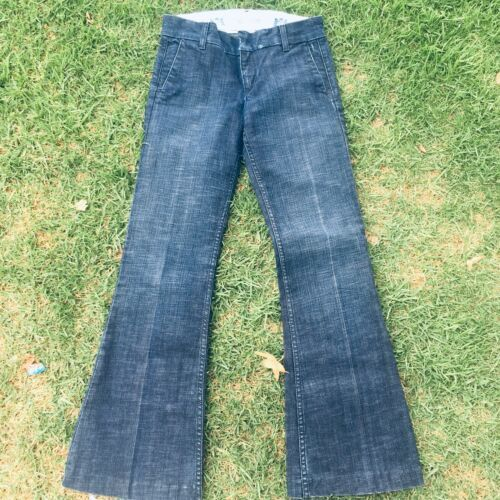 Juicy Couture womens Jeans Size 27 Boot Cut Flare Leg Distressed Dark Washed