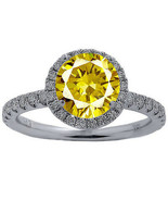 Women's 2.98CT Round Canary & Diamond Halo Engagement Ring Solid 18K Whi... - $2,474.01