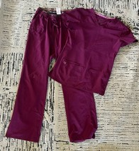 Women's Lot of Heartsoul Wine & Black Colored Scrub Tops and Pants Size S/Med - $39.60