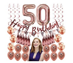 Rose gold 50th birthday party decorations for women 50 Party Decorations 50th - $23.99