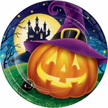 "October Eve 8 Ct 9"" Dinner Plates Halloween Cocktail JOL Witch Hat - $4.39"