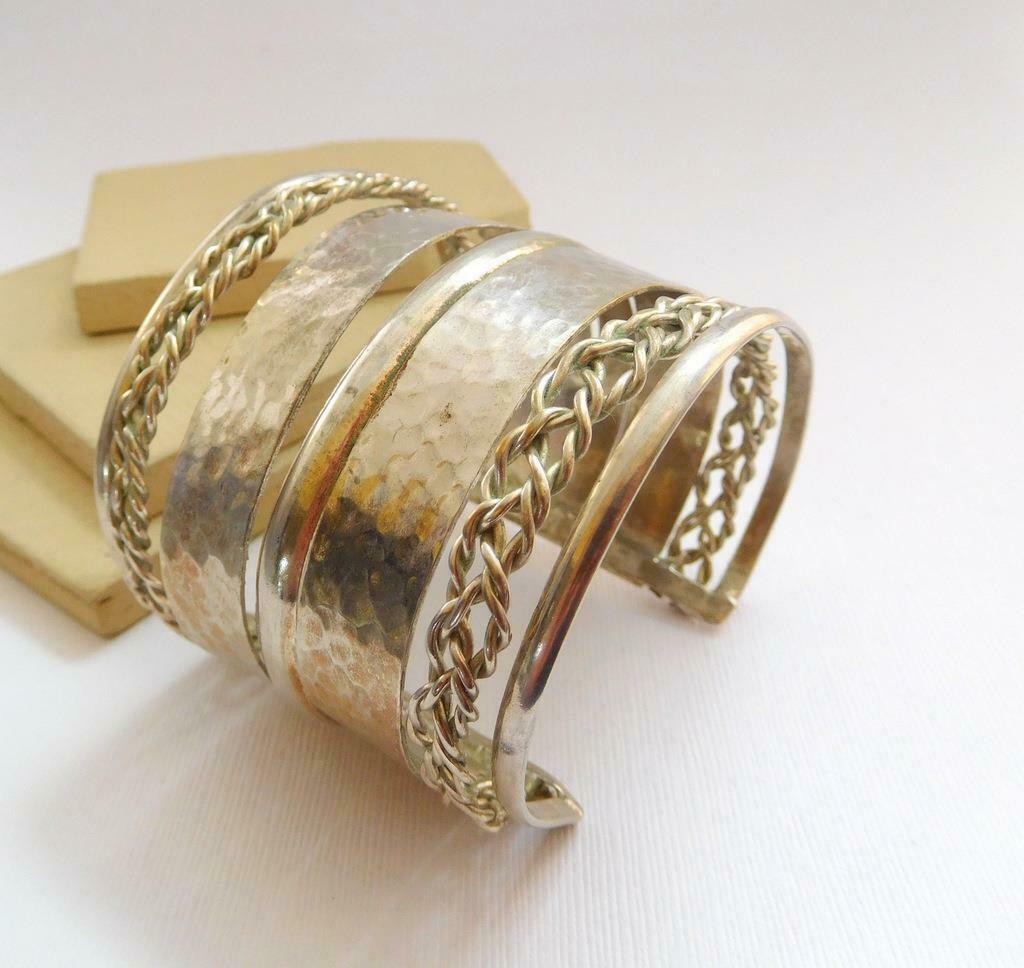 Vintage Silver Tone Wide Ethnic Boho Tribal Cuff Statement Bracelet O11