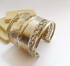 Vintage Silver Tone Wide Ethnic Boho Tribal Cuff Statement Bracelet O11 - $18.69
