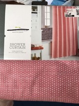 New Threshold Coral White Dot Fabric Cotton Shower Curtain NWT - $11.69