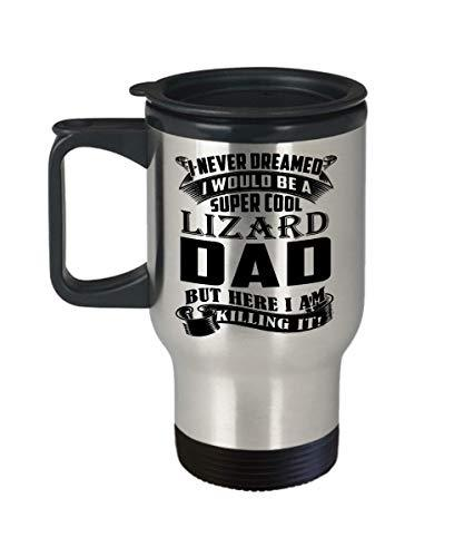 Lizard Dad Travel Mug Coffee Tea Cup Funny Birthday Gifts for Daddy Papa Pet Lov