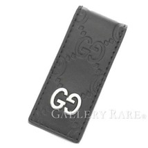 0c4efbba0ad4 GUCCI Money Clip Guccissima Leather Black Wallet Mens 522867 Authentic 5...  - $193.50