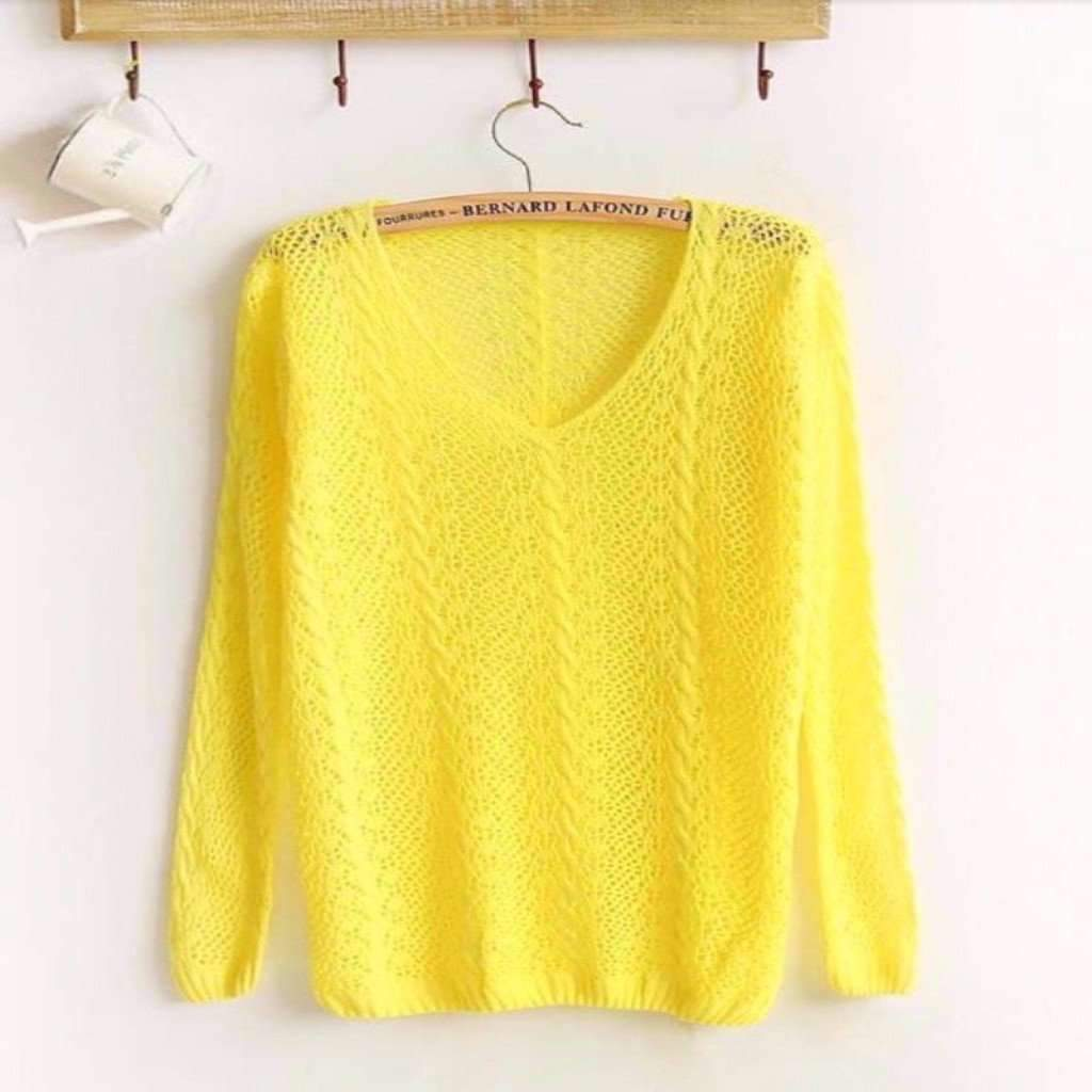 Daisy dress for less pullover sexy hollow out v neck pullover 1409207042079