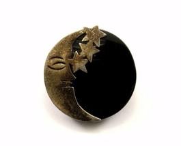 Vintage Taxco Onyx Moon & Stars Design Pin/Brooch 925 Sterling BB 431 - $50.69