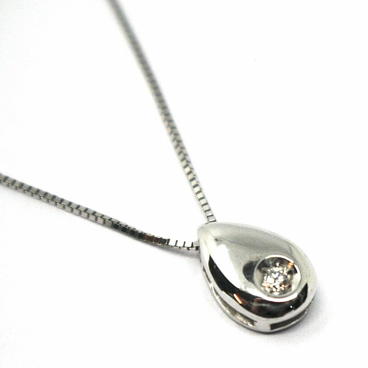 18K WHITE GOLD NECKLACE, DROP PENDANT WITH DIAMOND AND VENETIAN CHAIN