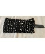 "NWT Cejon Black Silver Gold Metallic Knit Headband Head Warmer Wrap 4"" W... - $8.99"