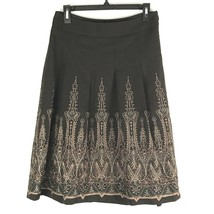 Ann Taylor Loft Skirt Size 4 Brown Textured Embroider Below Knee Career  - $34.73