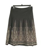 Ann Taylor Loft Skirt Size 4 Brown Textured Embroider Below Knee Career  - $34.73