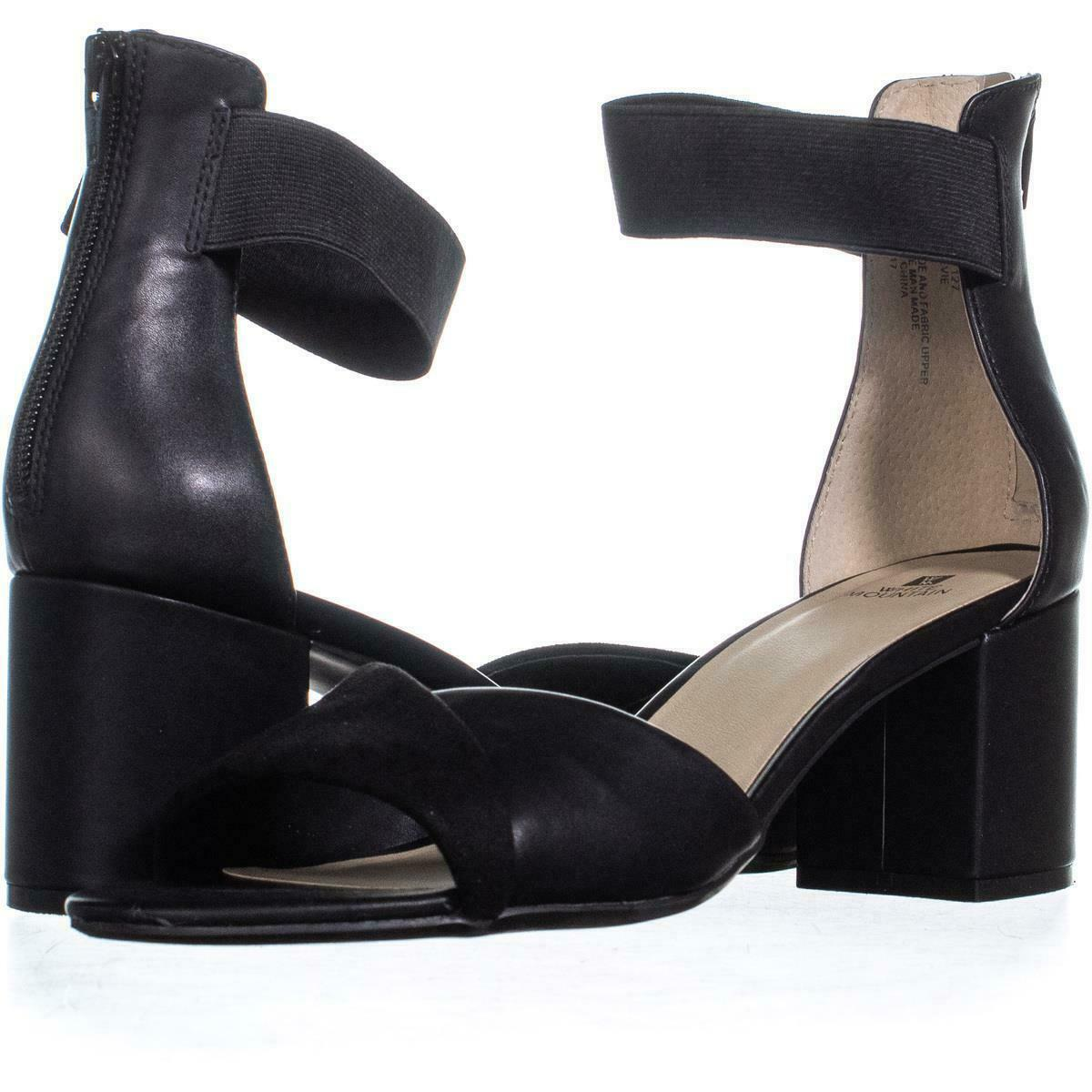 White Mountain Evie Criss Crossed Ankle Strap Sandals 736, Black, 10 US