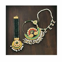 Peacock Nathiya/Nose Ring with Pearls Chain and Maang Tikka in Kundan A699 - $35.63
