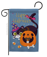 Witchy Cat - Impressions Decorative Garden Flag G135257-BO - $19.97