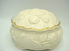 Vintage Rose Blossom Ivory Candy/Nut Covered Bowl Dish  W/Gold Trim - $15.09