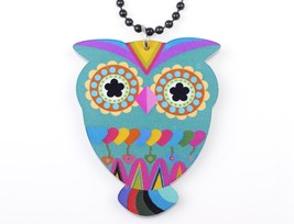 (MULTICOLOR)Bonsny color owl necklace pendant acrylic 2015 news accessor... - $16.00