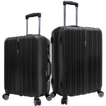 "Tasmania 2pc Black 21"" 25"" Polycarbonate Expandable Spinner Luggage Suit... - $168.29"
