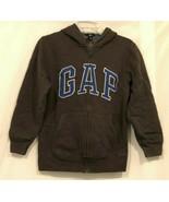 GAP Full Zip Hooded Sweatshirt Jacket Boys Kids XL Charcoal Gray Blue Ho... - $17.99