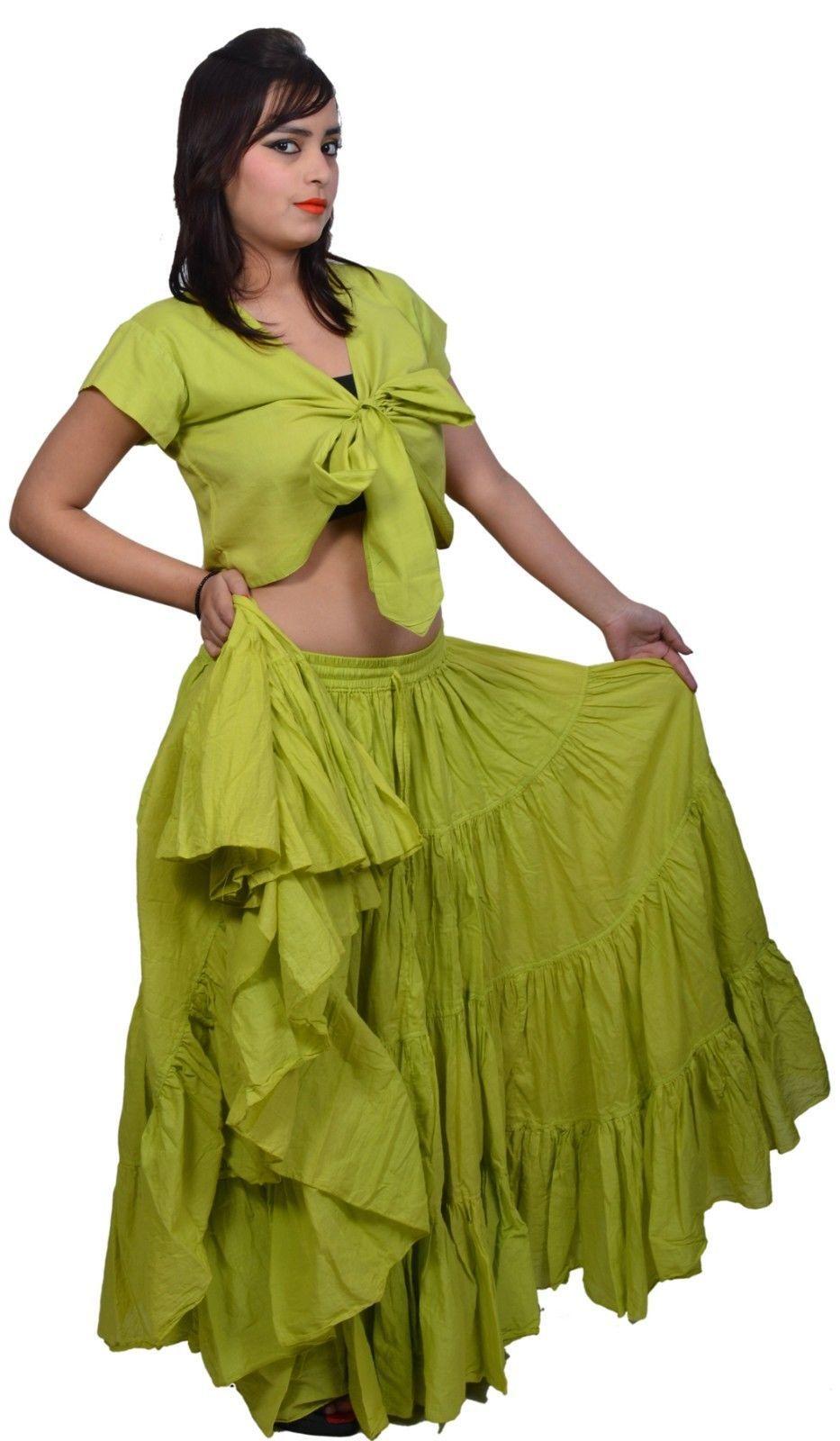 Bottle Green Polka Dot 25 yard gypsy skirt cotton belly dance tribal costume