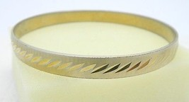 VTG MONET Signed Gold Tone Metal Bangle Bracelet - B - $19.80