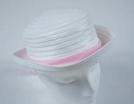 GIRLS 4 5 6X EASTER BONNET ROLLED BRIM STRAW SUMMER HAT WHITE PINK RIBBON - $6.92
