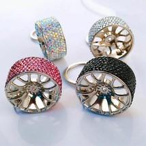 Women Keychain Stylish Rhinestone Car Wheel Pendant Key Ring Hanging Dec... - $8.05